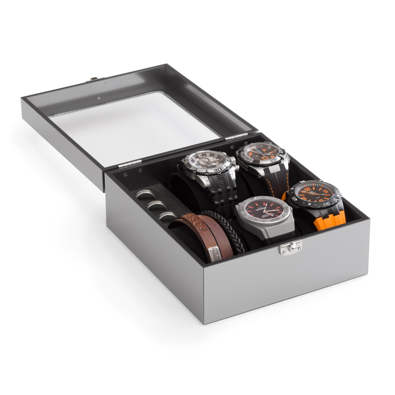 Acrylglas-Uhrenkasten 200 x 175 mm, silber