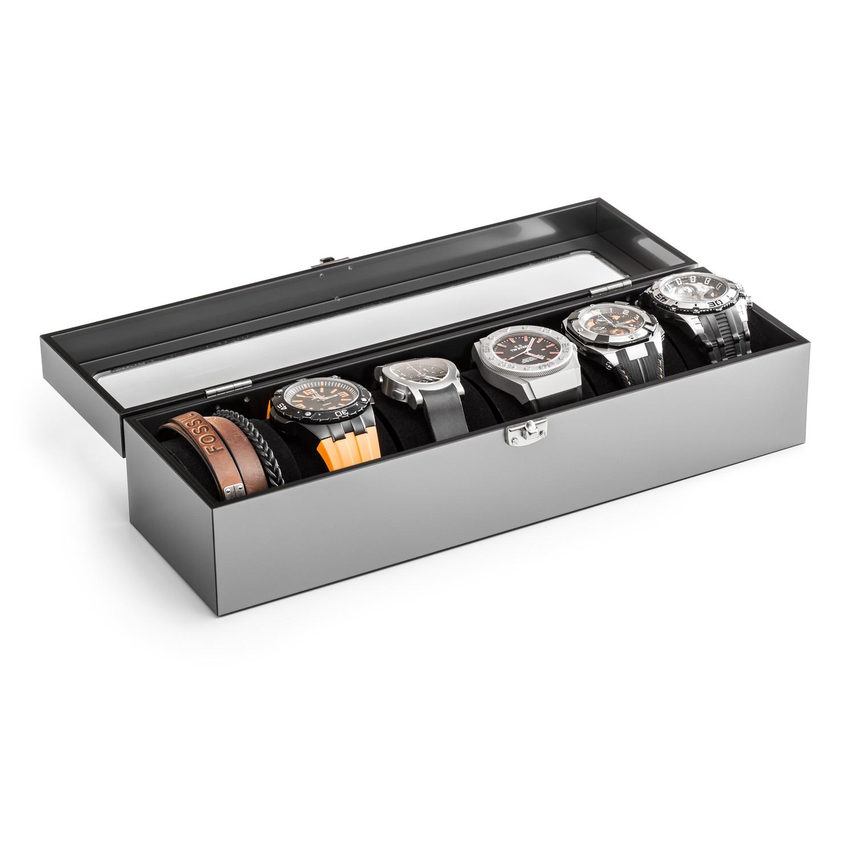 Acrylglas-Uhrenkasten 340 x 100 mm, silber